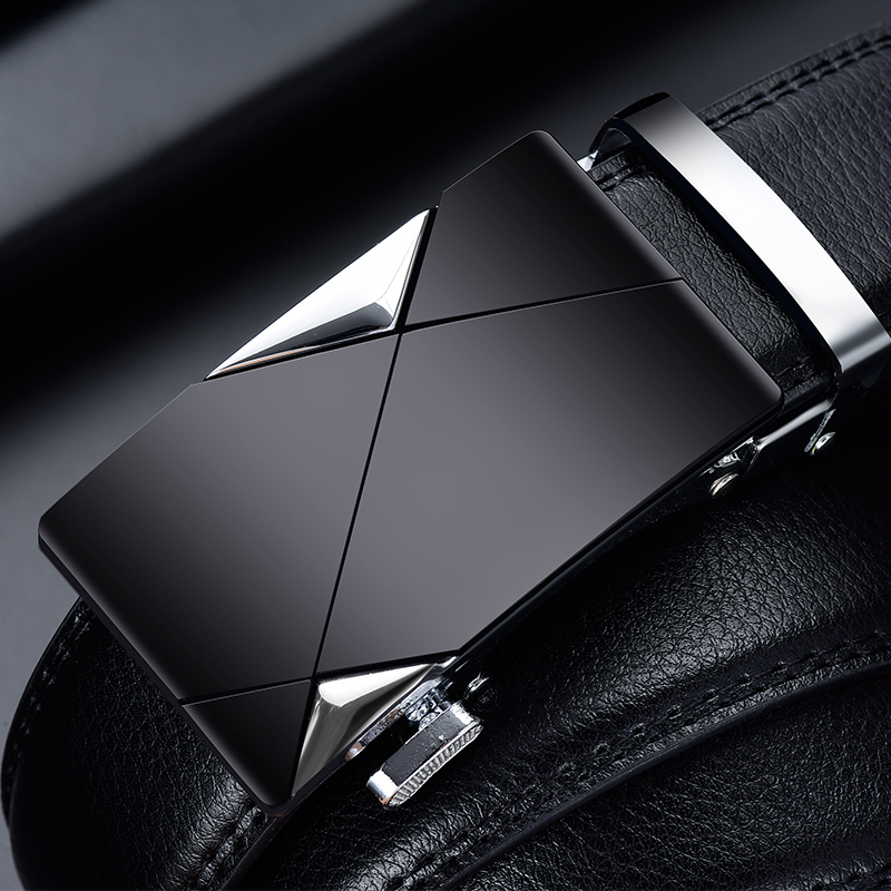 Men   Belt   Male Genuine Leather Strap   Belts   For Men Top Quality Automatic Buckle black   Belts   Cummerbunds cinturon hombre