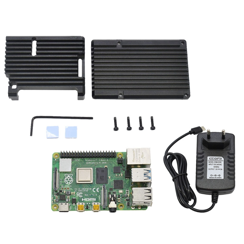 For Raspberry Pi 4B 4G RAM DIY Kit Support 2.4 / 5.0 GHz WIFI Bluetooth 5.0 With Aluminum CNC Alloy Protective Black Case 5V 3A