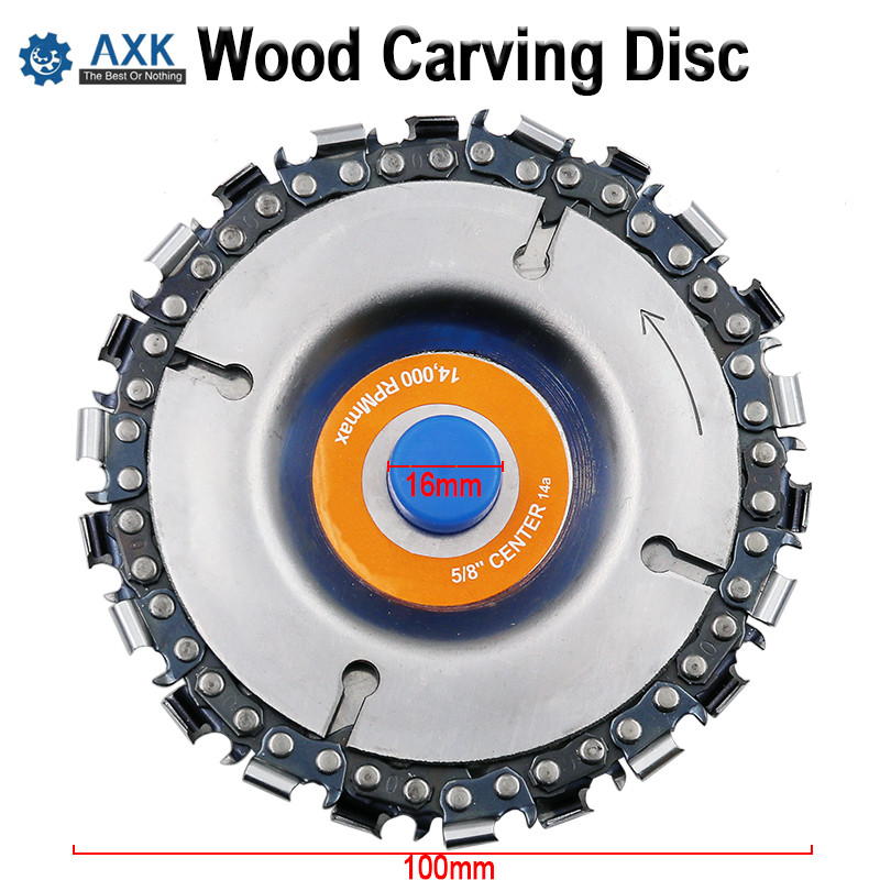 4 Inch Wood Carving Disc And Chain 22 Tooth Fine Abrasive Cut  Chain Saws Disc Chain Plate Tool For 125mm/115mm Angle GrindingDT