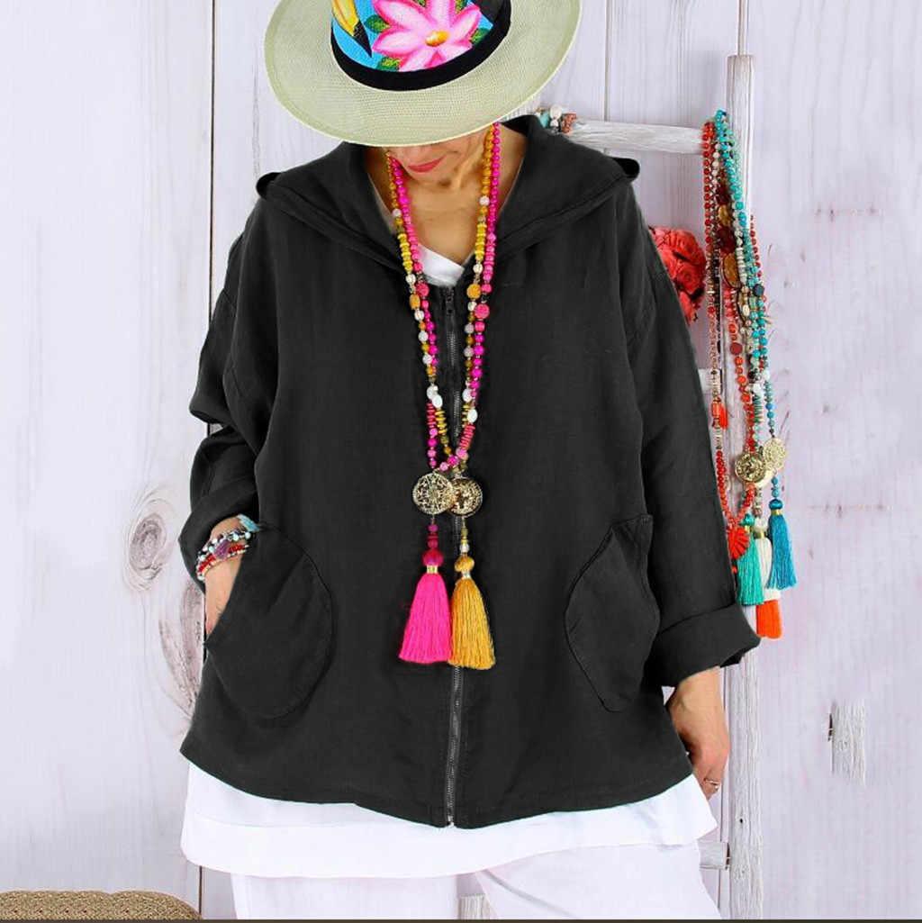 С капюшоном свободные женские черные толстовки пальто Твердые осенние молнии карманы курточка бомбер Повседневная мода уличная casaco feminino