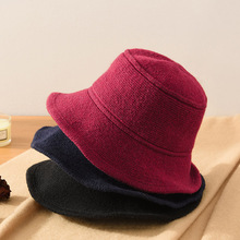 Fisherman HAT Bucket-Hat Flat-Top Knitting Winter Solid-Color Women's Warm And Wool Autumn