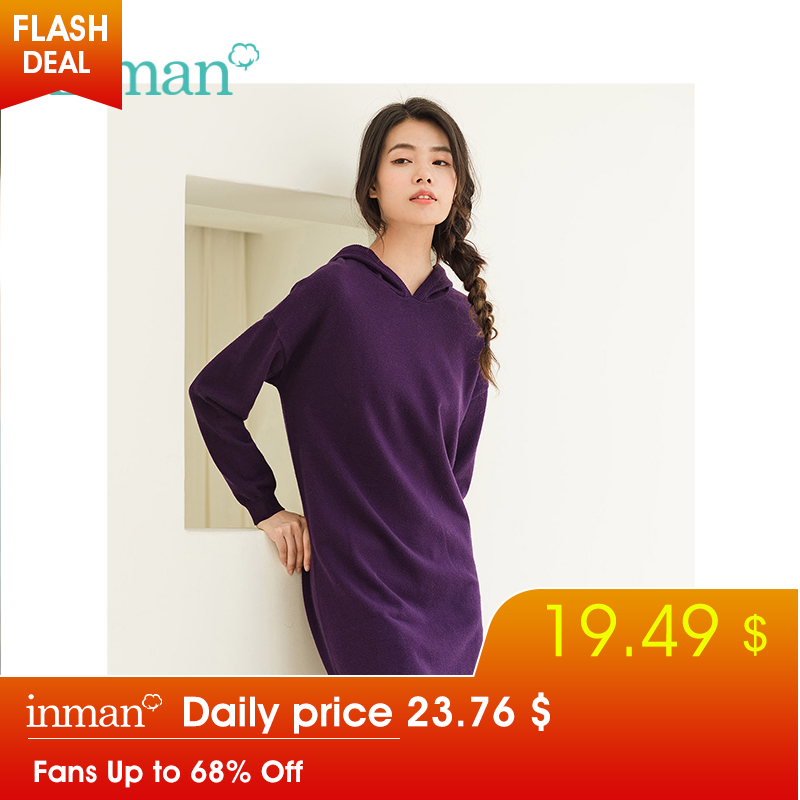 INMAN Winter New Arrival Retro Literary Embroidery Loose Lazy Style Woman Wool Dress