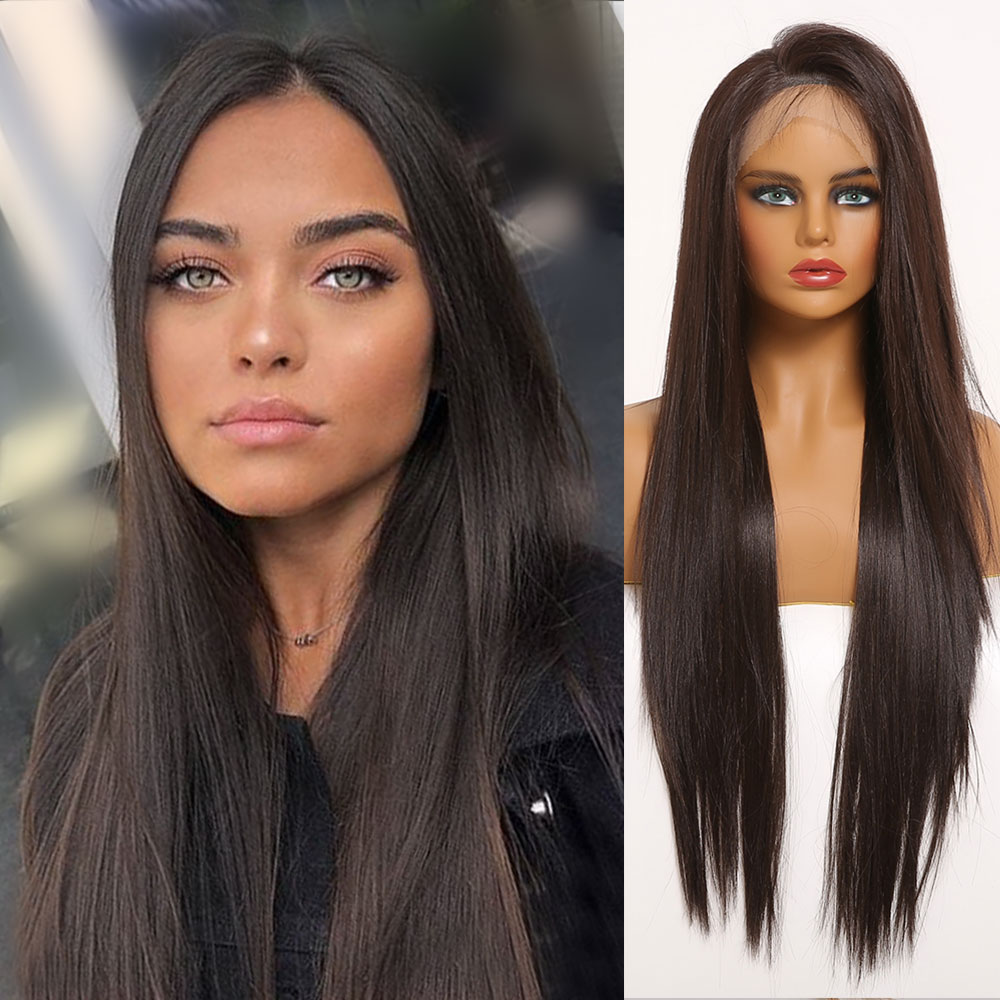 Long Straight Dark Brown Lace Front Synthetic Wigs with Baby Hair Lace Wigs for Women Cosplay High Density Natural Hair Wigs