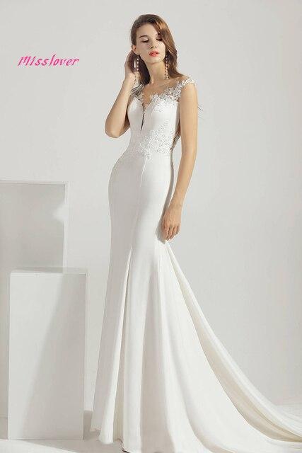 Simlple Soft Satin Vestido de noiva lace Mermaid Bride Wedding Dress 2021 new Bridal Gown Boat Neck Court Train Robe de mariee 4
