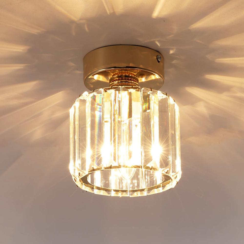 Ganeed LED Round Crystal Ceiling Light  Flush Mount Lamp Entryway Lights For Dining Room Bedroom Kitchen Gold Lightings