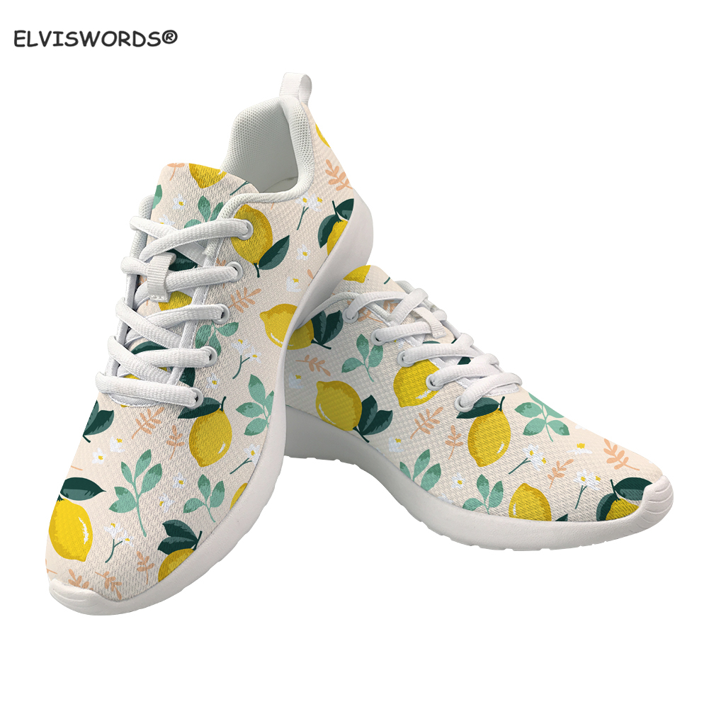 INSTANTARTS Spring Women Flats Shoes Lemon Pattern Mesh Lace-up Sneakers Women Breathable Casual Ladies Shoes Zapatillas Mujer