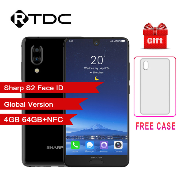 SHARP AQUOS C10 S2 Android 8.0 4GB + 64GB 5.5 FHD + SmartPhone Snapdragon 630 Octa Core Face ID NFC 12MP 2700mAh 4G téléphone portable