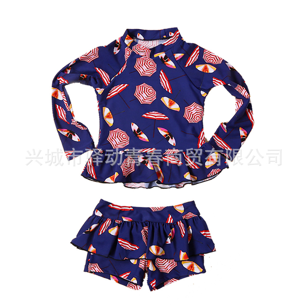 KID'S Swimwear Sun-resistant Long Sleeve Split Type Boxer Swim Bathing Suit Girls Sun-resistant Clothing GIRL'S Large Children B