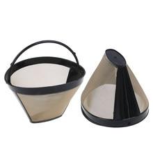 Многоразовый кофейный фильтр из нержавеющей стали с моющейся ручкой, 1 шт., многоразовый фильтр для кофе в виде конуса, многоразовый сетчаты...