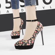 Liren 2019 Summer Fashion Sexy Women Party Buckle Sandals Flowers Style High Thin Heels Platform Pointed Toe Sexy Sandals hot 16cm extreme high heels red black summer sandals sexy women prom fashion buckle ultra thin stilettos women platform sandals