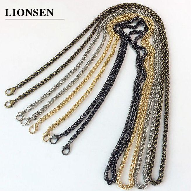 Lionsen 120cm 60cm Replacement Chain Strap Metal Link Clasp Purse Chain Bag Handle Shoulder Cross Body Handbags Chain Strap