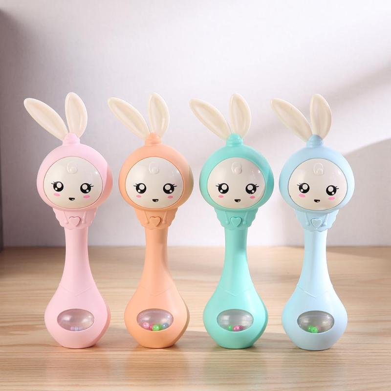0-12M Musical Flashing Baby Rattles Baby Infant Hand Bells Cute Rabbit Hand Bells Rattles Early Educational Toys