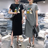 Summer Cartoon women dress short sleeve printed O-Neck Medium long black Plus Size dresses Female Casual clothes 2019 vestidos 1