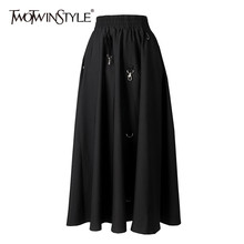 TWOTWINSTYLE Casual Patchwork Metal Ring Women Skirts High Waist Irregular A-Line Skirt For Female Fashion Clothing 2020 Spring(China)