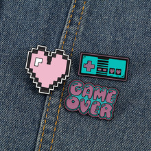 Vintage Game Machine Enamel Pins Cartoon Cute Pink Heart Letter Brooch GAME OVER Fashion Retro Jewelry Denim Jackets Badges Gift