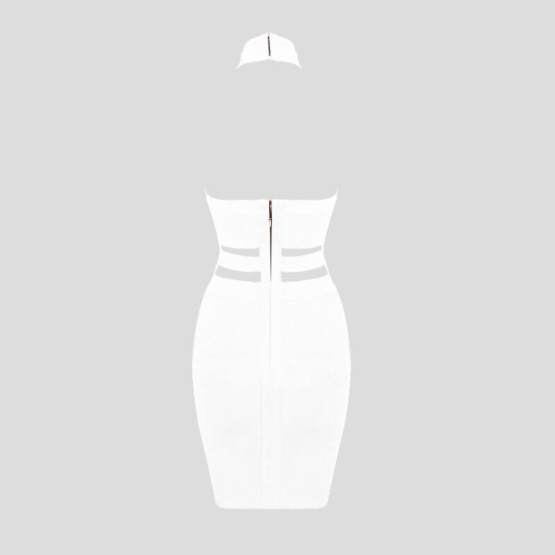 Image 4 - Women Luxury Sexy Eyelet Cut Out Black Bandage Dress 2018 Knitted Elastic Party DressDresses
