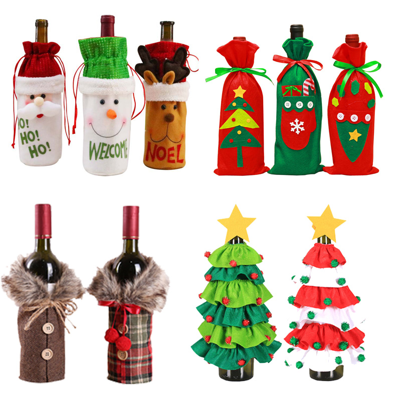 2020 Christmas Decorations For Home Christmas Wine Bottle Bags Cover Gift Champagne Holders Xmas Home Table Navidad Decors