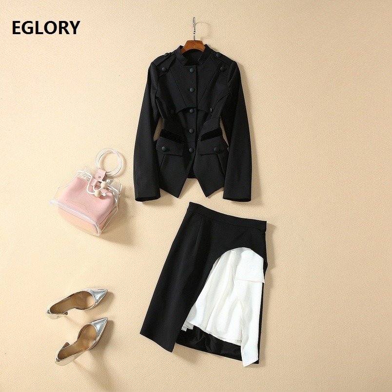 Top Grade Designer Clothing Sets 2020 Spring Jacket Set Women Single Breasted Coat Blazer+Asymmetricl Skirt Set Ladies Work Suit