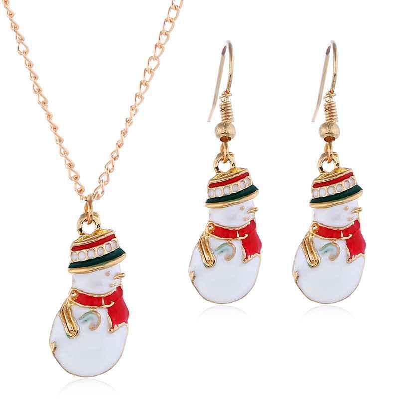 Orecchini Delle Ragazze di Natale Del Fumetto Sveglio Handmade Della Perla di Colore Pupazzo di Neve KC Oro Rosso Della Collana Ciondola Gli Orecchini A due pezzi
