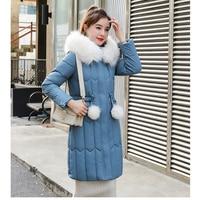 Winter Plus Size 5XL Thick Big Fur Women Long Down Parkas Elegant Slim Jacket Women Hooded Coat Cotton New Padded Jackets Female