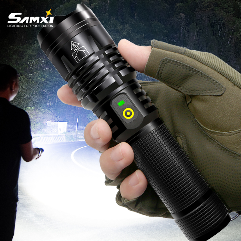 New Real XHP50 70 Rechargeable LED Flashlight 70mm Lamp beads Power Brightness Tactical Flashlight USB Torch Lantern For Camping