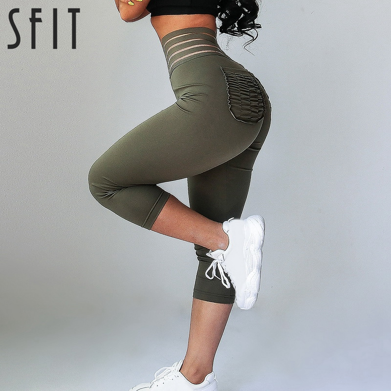 Sfit High Waist Capri Pants Yoga Pants With Pockets Tummy Control Workout Pants For Women Stretchy Yoga Leggings With Pockets