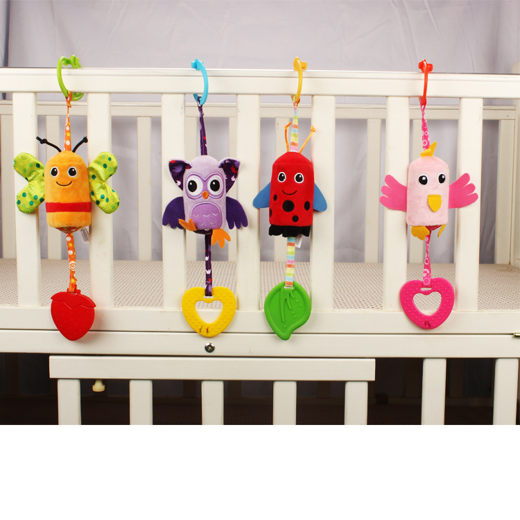 Infant Wind Chimes Plush Toys Newborn Crib Car Hanging Lathe Parrot / Bee / Beetle / Owl Animal Baby Bed Rattles Bell Toy