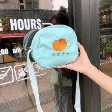 Creative fruit canvas bag girl round crossbody cute student shoulder mobile wallet