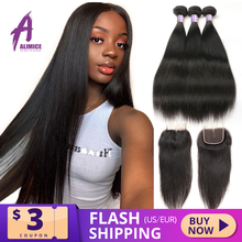 ישר שיער טבעי חבילות עם סגירת תחרה ברזילאי שיער Weave חבילות עם סגירת רמי 3 חבילות עם סגירת תחרה 4x4