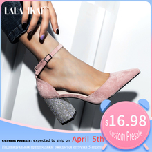 Pre-sale LALA IKAI Wedding Shoes Woman 2020 Pointed Toe Square Crystal Bling Hig