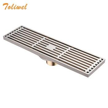 цена на Quality Brass 8 X 30cm Brushed Nickel Antique Bathroom Linear Shower Floor Drain Chrome Wire Strainer Waste Drainer Wholesale