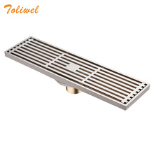 Quality Brass 8 X 30cm Brushed Nickel Antique Bathroom Linear Shower Floor Drain Chrome Wire Strainer Waste Drainer Wholesale