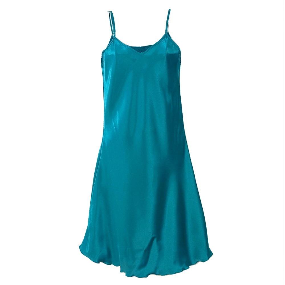 Oversize 3XL 4XL Female Satin Nightgown Lady Sexy Spaghetti Strap Night Dress Women Nighties Sleeveless Sleepwear Nightwear