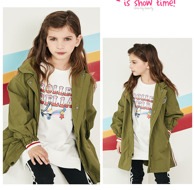 DBK12240 dave bella spring kids girls fashion long sleeve floral pockets hooded coat children cute tops high quality outerwear