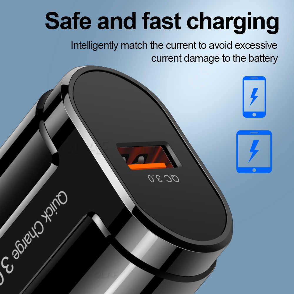 Pengisian Cepat 3.0 USB Charger untuk Iphone Samsung Xiaomi Charger Cepat QC 3.0 4.0 UK Uni Eropa US Dinding Perjalanan Ponsel adaptor Charger Telepon