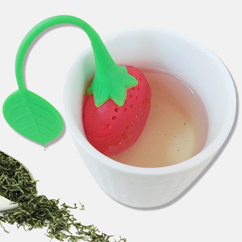 1 pieza de accesorios de té de fresa Infusor de acero inoxidable colador de hoja de bola para Dispositivo de elaboración de hierbas especias utensilios para filtro de cocina