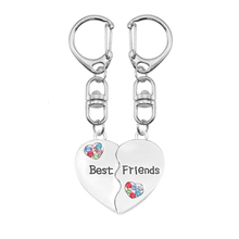 DIY Keychain For Women Girl  Heart Shaped Colored Crystal Pendant Accessories Key Chain Charms Jewelry Gifts Dropshipping 2019 mix wings key chain charms for diy handmade gifts keychain flying wing jewelry