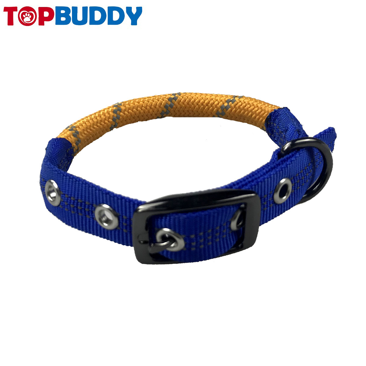Pet Collar Dog Hand Holding Rope Nylon Double Color Round Rope Neck Ring With Belt Buckle Pet Collar