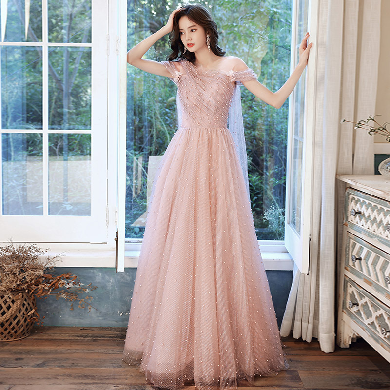 Pink Asymmetrical Pearl Evening Dress New Banquet Temperament Ladies Atmosphere Niche Birthday Dress Texture Fairy Dress A024