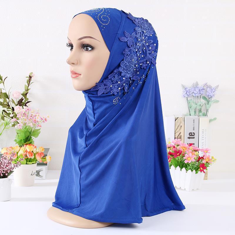 Модный женский мусульманский головной платок, однотонный хлопковый цветочный хиджаб с бриллиантами, шарф, шали и обертывания, готов к носке...