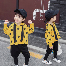 Girls fall on the new suit 2019 baby girls who dress hooded long-sleeved children two-piece western style clothes