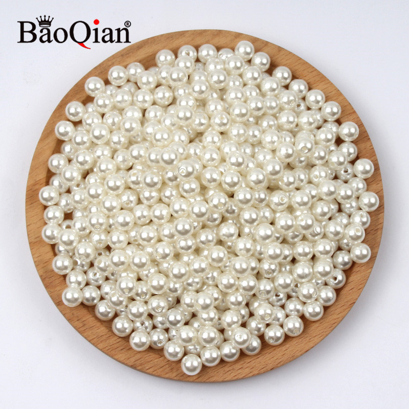 4-30mm Beige With Hole Garment Beads Imitation Pearl Beads For DIY Sewing Clothing Craft Beadwork Decoration Accessories Supplie(China)