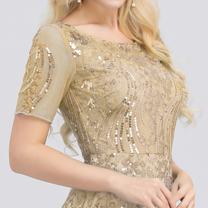 Image 5 - プラスサイズウェディングドレスこれまでにかわいいEZ07705 seuqined oネック半袖エレガントなリトルマーメイドドレスフォーマルパーティードレス2020