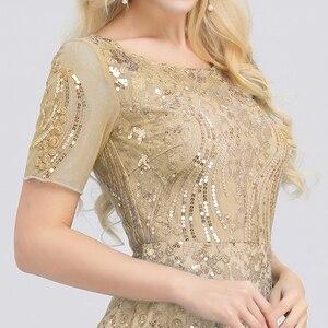 Image 5 - Grande taille robes de bal jamais jolie EZ07705 seuqiné o cou manches courtes élégant petite sirène robes robes de soirée formelle 2020