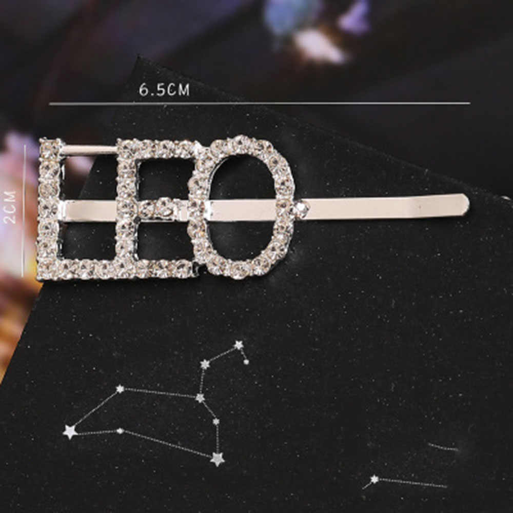 2020New Mode 1Pcs 12 Konstellation Strass Haarnadel Kristall Englisch Shiny Brief Silber Kristall Haar Clip Haar Zubehör