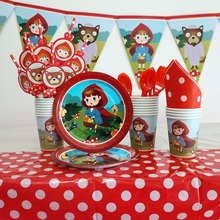 Сказочная тема вечерние Красные шапочки для детей на день рождения принадлежности для девочек на день рождения одноразовая посуда воздушный шар