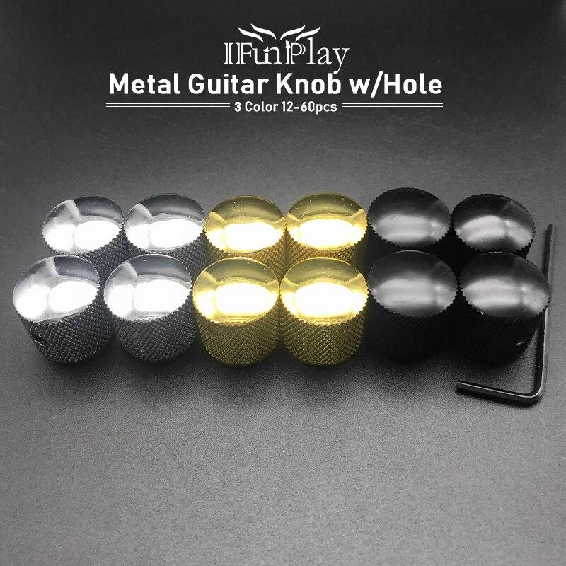 Perilla de tono de volumen para guitarra eléctrica, 12 Uds., perilla de bajo eléctrico, potenciómetro, tapa con guitarra eléctrica con agujeros
