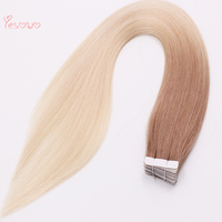 Yesowo Unprocessed Raw Indian Hair 100% Remy PU Skin Hair Ombre Human 6T613# Cheap Seamless Hair Extensions
