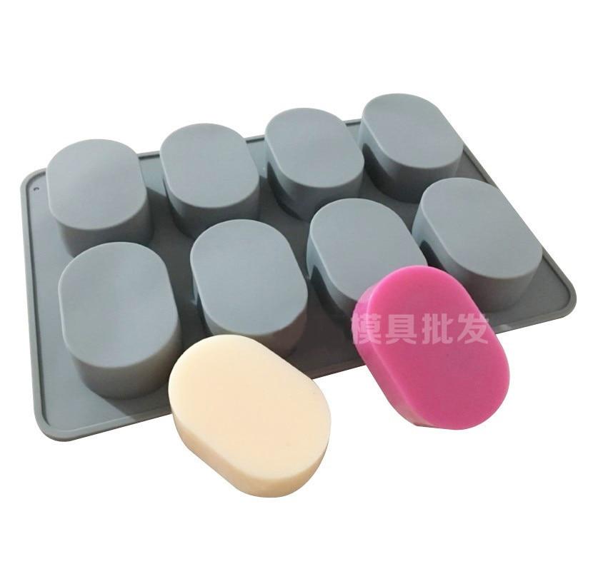 Силиконовая форма для торта форма для мыла для рук восьминепрерывная овальная форма 8 отверстий эллиптическое мыло около 65 граммов