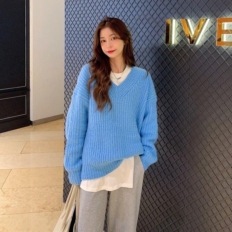 Свободные cusaul пуловер с вырезом в виде буквы v свитер для